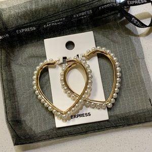 Gold Pearl Heart Shaped Hoop Earrings